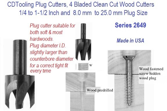 Plug Cutter 4 Bladed Clean Cut Wood Cutter  1/4 - 1-1/2, 8-25mm Series 2649