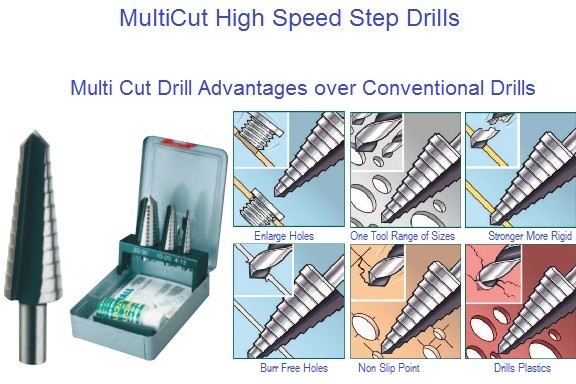 Multicut High Speed Steel Step Drills 1/8 to 1-1/8 Diameter