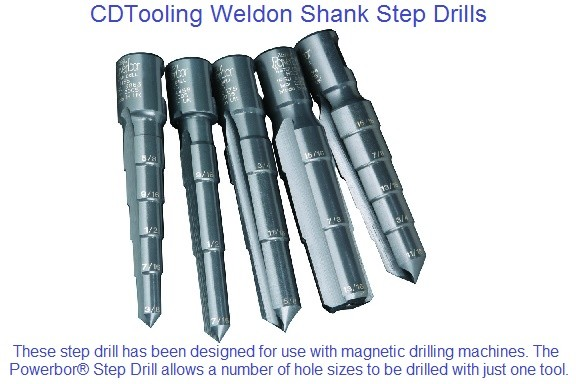 Step Drill Weldon Shank HSS for Mag Drills 5/16 - 2-1/16 Diameter