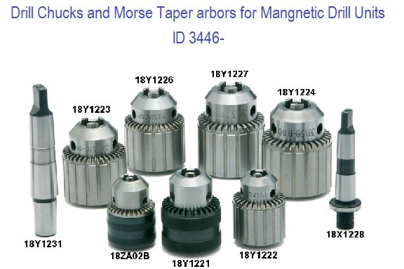 Drill Chucks and Adapters for Magnetic Drill Units ID 3446-