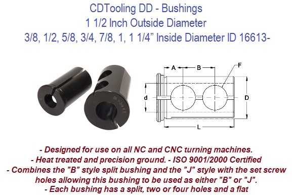 Style DD - 1 1/2 Inch Outside Diameter - 3/8 1/2 5/8 3/4 7/8 1 1-1/4 Inch Inside Diameter  - CNC Bushing ID 16613-