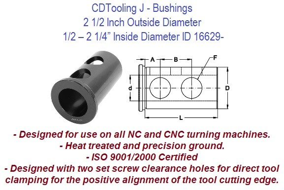 Style J - 2 1/2 Inch Outside Diameter - 1/2 5/8 3/4 7/8 1 1-1/4 1-1/2 1-3/4 2 2-1/4 Inch Inside Diameter  - CNC Bushing ID 16629-
