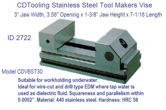 Tool Makers Vise Stainless Steel 3 Jaw Width x 4 inch Opening Model CDT-VBST-30 ID 2722-