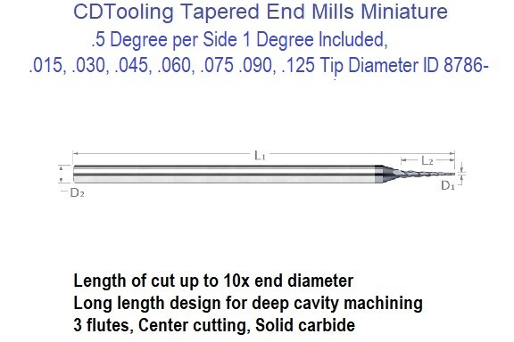 1.0 Degree per Side 2 Degree Included, Carbide Tapered End Mills .015, .030, .045, .060, .075 .090, .125 Tip Diameter ID 8791-