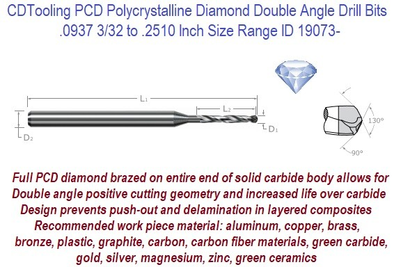 .0937 3/32 to .2510 Inch Size Range Polycrystalline PCD Tipped Carbide Drill Bits ID 19073-