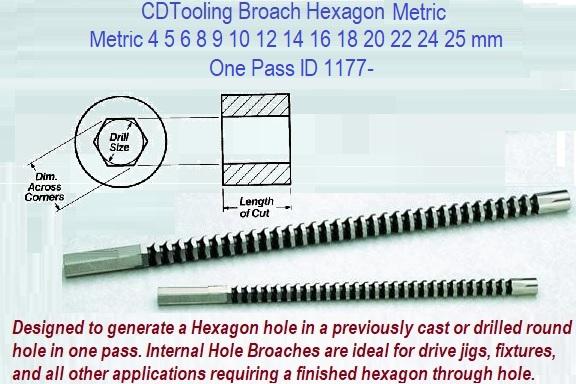 USA Metric 12mm Hexagon Broach