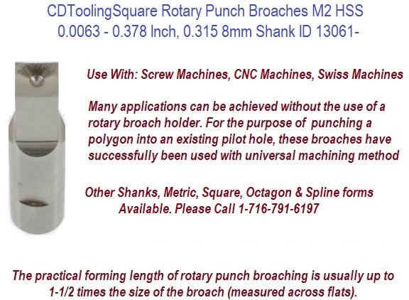 Square Rotary Punch Broaches M2 HSS 0.0063 - 0.378 Inch, 0.315 8mm Shank ID 13061-