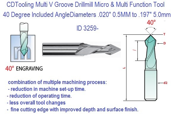 40 Degree Multi V Groove Carbide Drill Mill ID 3259-