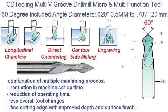 60 Degree Multi V Groove Carbide Drill Mill ID 3260-