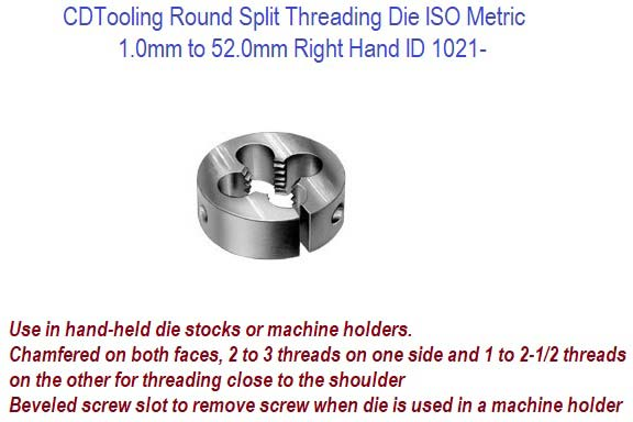 Round Split Threading Die ISO Metric 1 0mm to 52 0mm Right Hand ID 1021-