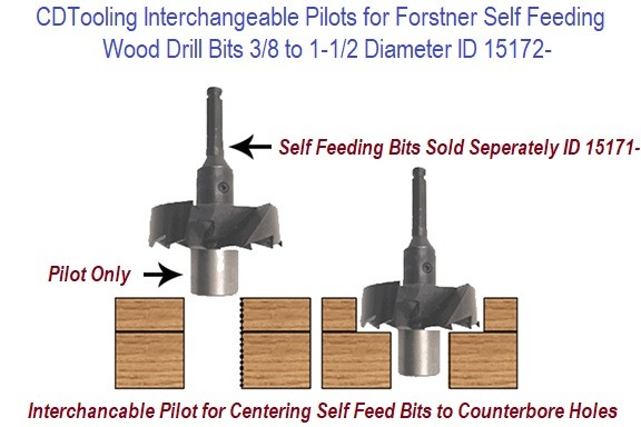 Forstner Self Feeding Wood Drill Bit Interchangeable Pilots Individual Sizes from .375 to 1.5 Inch Diameter Size Range ID 15172-