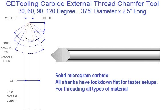 Carbide External Thread and Chamfer Tool 30, 60, 90, 120 Degree