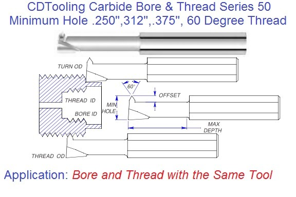Combination Carbide Bore and Thread with one tool .20 .312 .375 Min Hole