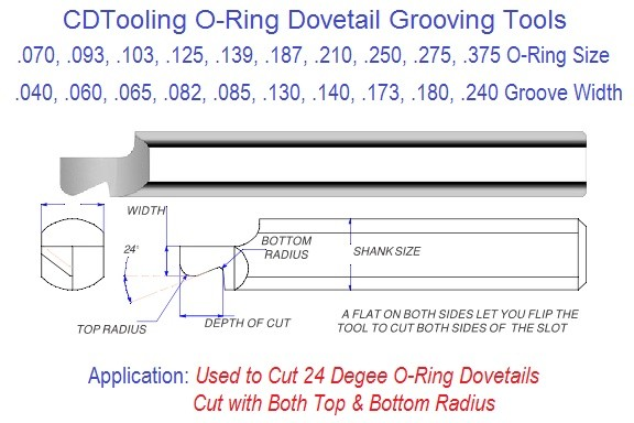 Carbide Dovetail O-Ring Groovers .070 to .375 O-Ring, .040 to .240 Flat on Both Sides allows tool to cut both sides  Groove Series 53 ID 2289-