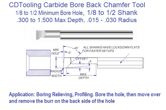 Bore And Back Chamfer Carbide Boring Tool .125 to .500 min Bore .300 to 1.500 Depth