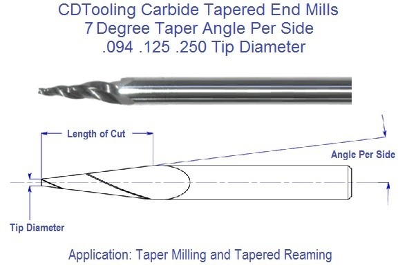 7 Degree, Carbide Tapered End Mills .094 .125 .250 Tip Series 69