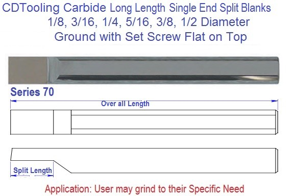 Long Length Single End Split Carbide Blank 1/8 3/16 1/4 5/16 3/8 1/2 Series 70