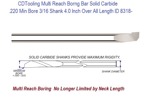 ".320/"" Minimum Bore 1.10/"" Max Depth Carbide Boring Bar Internal Tool #10-1475"