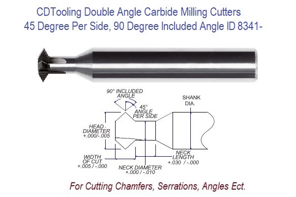 .500 1/2 Inch Head Diameter .250 Width of Cut , 1/2 x 3 Double Angle Carbide Milling Cutter ID 8341-