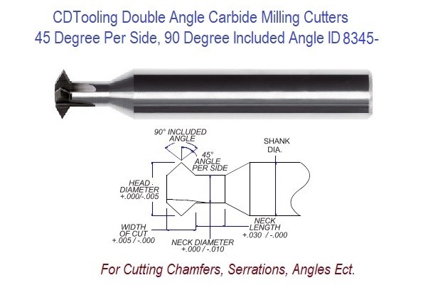 .500 5/8 Inch Head Diameter .312 Width of Cut , 5/8 x 3-1/2 Double Angle Carbide Milling Cutter ID 8345-