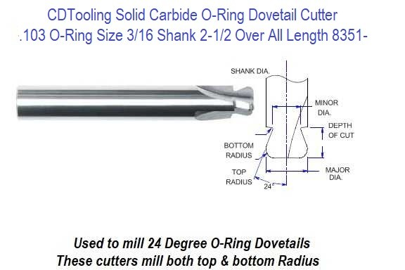 .103 O-Ring Size 3/16 Shank 2-1/2 Over All Length Solid Carbide O-Ring Dovetail Cutter ID 8351-