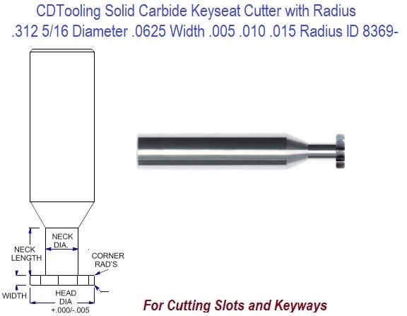 Shank Dia.: 5//8 Uncoated Corner Rounding End Mills Minor Dia.: 5//16 4 Flute Solid Carbide Radius: 5//32 OAL: 3-1//2