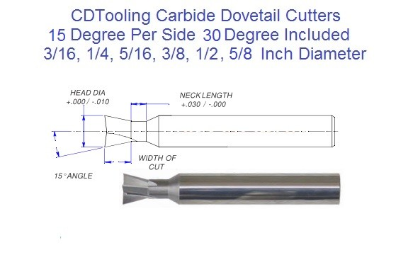 15 Degree Per Side, 30 Degree Included, 75 Degree from End, Angle Carbide Dovetail Cutters ID 2253-