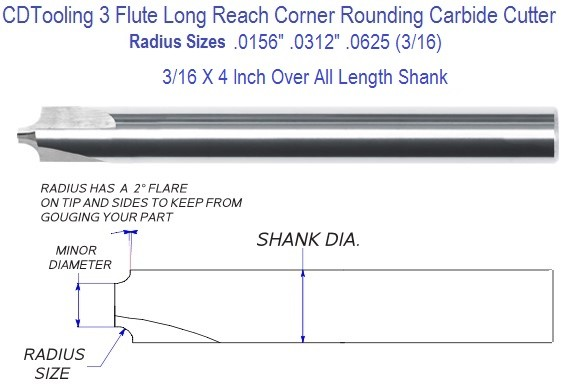.0156, .0312,0625 Radius 3/16 x 4 Shank Carbide Corner Rounding End Mill Long Length Model 170 Series 2678