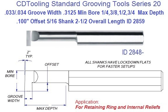 .312 Min Bore, .033-.095 Inch Width Carbide Standard Grooving Tool .312 Shank Tool Series 20, ID 2859