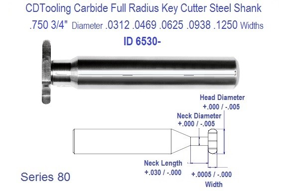 .750 3/4 inch Diameter .0312 .0469 .0625 .0781 .0787 .0938 .1250 Width Full Radius Carbide Key Cutter Steel Shank Series 80 ID 6530-