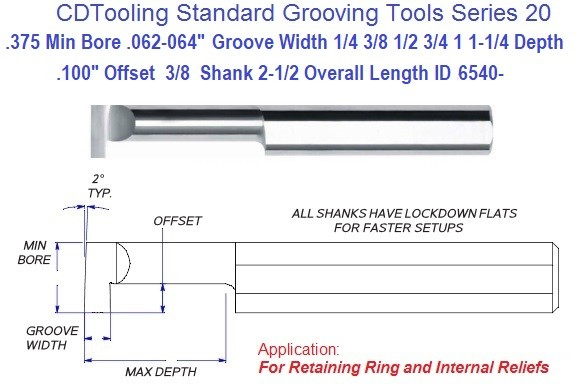 .375 Min Bore, .062/.064 Inch Width Carbide Standard Grooving Tool .375 Shank Tool Series 20, ID 6540-
