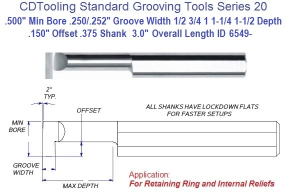 .500 Min Bore, .250/.252 Inch Width Carbide Standard Grooving Tool .500 Shank Tool Series 20, ID 6549-