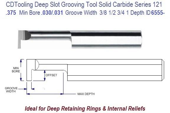 .375 Min Bore, .030/.031 Inch Width Carbide Deep Groove Tool .375 Shank Tool Series 121, ID 6555-