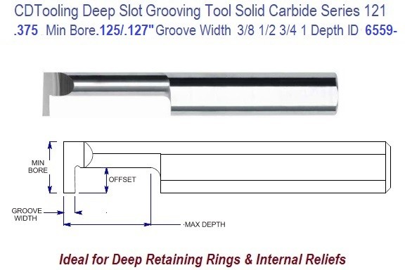 .375 Min Bore, .125/.127 Inch Width Carbide Deep Groove Tool .375 Shank Tool Series 121, ID 6559-