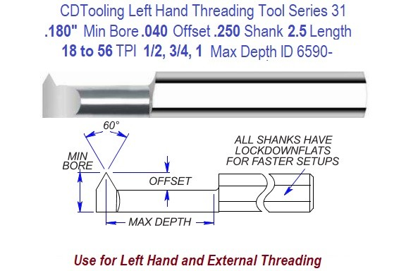 .180 Min Bore, .040 Offset, 1/4 Shank, 18 to 56 TPI, Lest Hand Carbide Threading Tool Series 31 ID 6590-