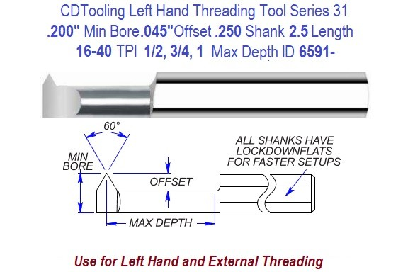 .200 Min Bore, .040 Offset, 1/4 Shank, 16 to 40 TPI, Left Hand Carbide Threading Tool Series 31 ID 6591-