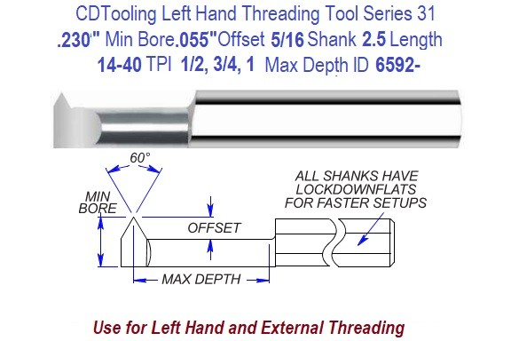 .230 Min Bore, .055 Offset, 5/16 Shank, 14 to 40 TPI, Left Hand Carbide Threading Tool Series 31 ID 6592-
