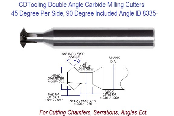 .093 3/32 Inc Head Diameter .047 Width of Cut , 1/8 x 2 Double Angle Carbide Milling Cutter ID 8335-