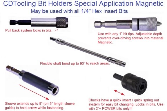 Screw Driver Bit Holder, Power Bit Holder for 1/4