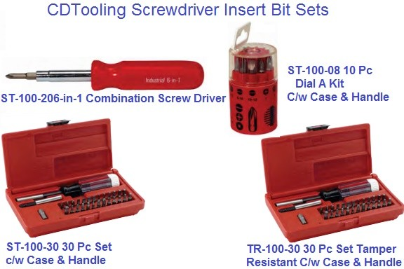 Screw Driver Insert Sets 6Pc, 10Pc, 30Pc, 30Pc Tamper Resistant, 1/4 Hex Drive