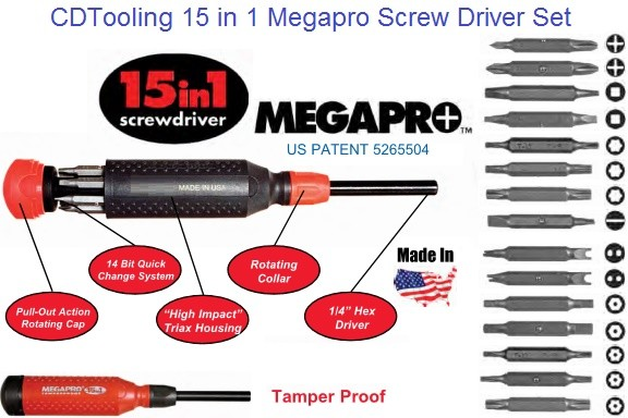 Screw Driver 15 in 1, Phillips, Square (Robinson) Star (Torx), Slotted, Spanner, Hex Pin, Star Pin