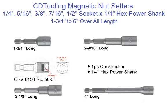 Magnetic Nut Driver Socket 5 Multi Sizes Shank 1//4 5//16 3//8 7//16 And 1//2