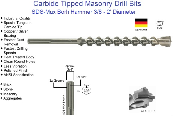 carbide tipped sds max drill bits bohr head 3 8 2 diameter. Black Bedroom Furniture Sets. Home Design Ideas