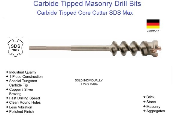 Carbide Tipped Core Cutter SDS Max Drive 1-1/2 to 3-1/8 Inch ID 1563-