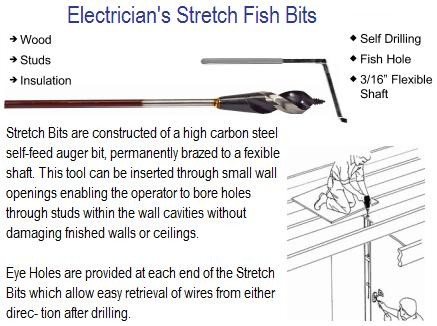 Electrician's Stretch Fish Bits 3/8 to 1/2 Diameter x 18, 36, 54, 72 Inch Lengths ID 1567-