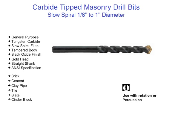 Carbide Tipped Masonry Drill Bits, Slow Spiral, Rotation and Percussion, 1/8-1""
