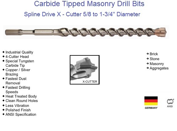 Carbide Tipped X - Cutter Spline Drive Drill Bits 5/8 to 1-3/4 Diameter