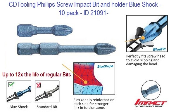 Phillips Screw Impact Bit and holder -  Blue Shock - 10 pack - ID 21091-