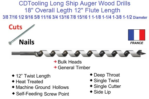 18 Inch Long Ship Auger Wood Drill Bit .375 3/8 to 1.50 1-1/2 Inch Diameter Series 2696-