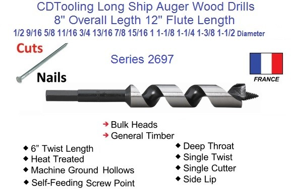 8 Inch Long Ship Auger Wood Drill Bit .500 1/2 to 1.50 1-1/2 Inch Diameter Series 2697